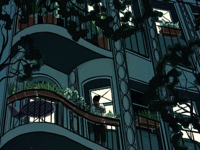 Windows apartment city night dream nature illustration