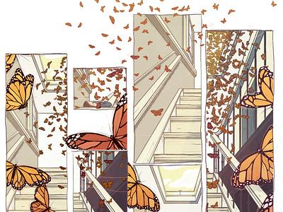 Quarantine Daydream editorial illustration butterflies nature illustration