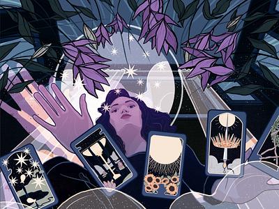 Shuffle woman night tarot dream illustration