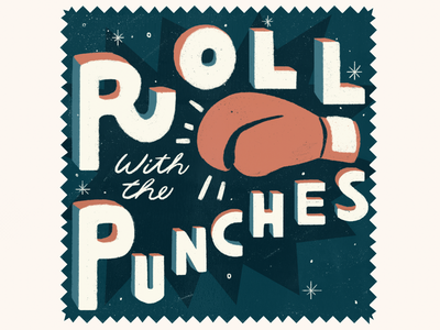Roll with the Punches type handlettering design illustration