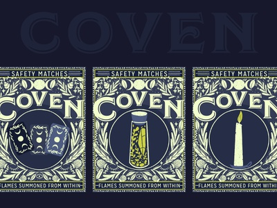 Coven Matches packaging candle witch spell tarot matchbox branding design illustration