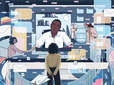 NYT Virtual Performance Reviews newyorktimes nyt workfromhome editorial illustration illustration