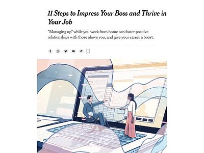 Managing Up covid19 virtualwork workspace wfh nyt editorial illustration illustration newyorktimes