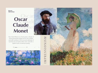 Claude monet museum museum art design typography website web ux ui minimal