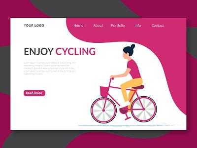 enjoy cycling ux vector illustrator minimal website web logo illustration ui design enjoy cycling