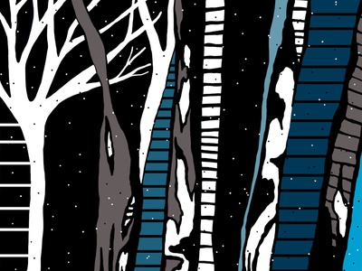 """""""Winter is Coming"""" cold snow photoshop painting trees winter wonderland black  white blues winter is coming impressionist expressionism digital painting winter illustrator design line art vector contemporary abstract illustration"""