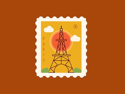 Paris Postage Stamp france paris travel design ux ui illustration postage postage stamp daily ui