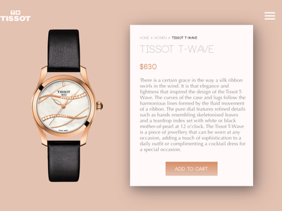 Single Product Page - Tissot Watches ecommerce design ecommerce watches product page product ux ui interface design daily ui concept
