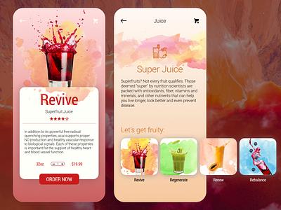 Juice Menu menu design menu juice superfoods food app ui food and drink food app interface design app ux ui concept daily ui