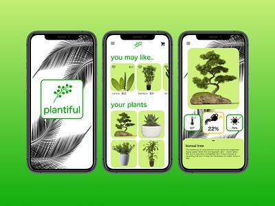 Plantiful App plant care planting app ux ui interface design daily ui concept plants plant