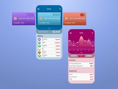 E-Wallet spending saving credit cards finance banking ewallet app ux ui interface design daily ui concept