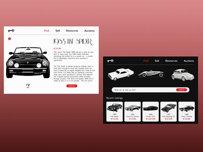 Classic Car Website contrast fiat classic car classic cars ecommerce design ux ui interface design daily ui concept