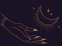 Moony night. vector stippling minimal sparkle stars moon hand magical magic occult witchcraft witch mystic lineart dotwork minimalistic linework coverart illustration