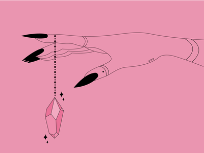 Crystal chain :) hands celestial sparkle nails witchy witch witchhand crystal lineart occult witchcraft mystic minimalistic illustrator coverart linework illustration