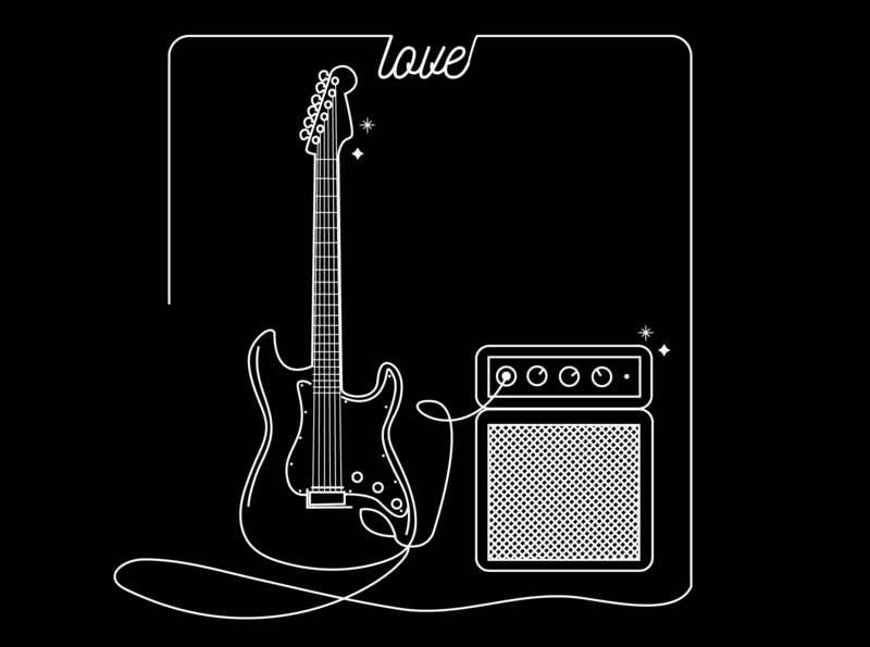 Music heals. :) lespaul lineart linework love rocknroll amp soundwave guitar music minimalistic coverart graphicdesign illustrator illustration monoline