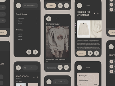 Apparel Store App | UI Kit iphone interface flat concept mobile ui classy uiux modern figma ecommerce dailyui beige design clean 2d ui interface apparel app app design ui