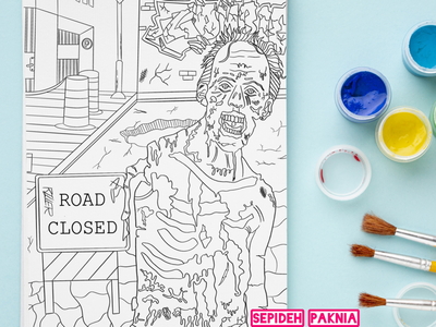 Zombie coloring book coloring book for adult illustrator zombie coloring book illustration adult coloring book coloring book