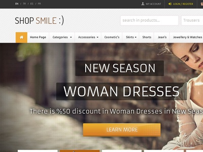 Shop Smile Moda Sitesi psd template professional template fashion psd template