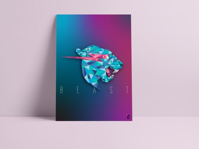 BEAST polygon art beast design poster vectorart illustration digitalart adobeillustrator
