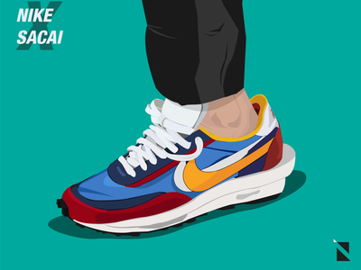 NikeXSacai waffle LD sneaker illustration nike sneaker vectorart illustration digitalart adobeillustrator