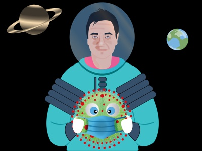 Don't let coronavirus make its way to space! illustrator vector wear a mask stay healthy illustration mask heath saturn earth astronaut space covid-19 covid19 corona virus coronavirus