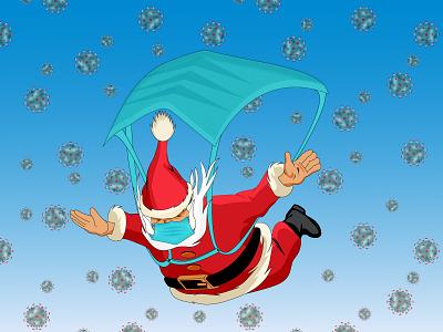 How Santa comes this Christmas! noel new year xmas flyer xmas card xmas holiday 2021 fly santa christmas flyer christmas party christmas card mask christmas covid-19 covid corona corona virus illustration illustrator