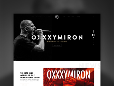 Oxxxymiron Website Concept website webdesign ui navigation menu layout icons gallery flat clean