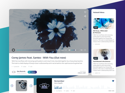 Gradient UI Kit clean minimalism gradient ui kit playlist music design ui material colors player video