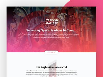 Yerevan Gallery App / Landing Page app gradient ux website web design ui navigation menu layout gallery flat clean