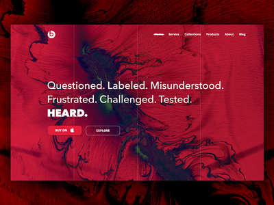 Beats by Dre Design Concept music layout web ux ui red clean modern headphones design black