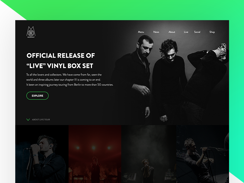 Moderat Band Website app gradient ux website webdesign ui navigation menu layout gallery flat clean