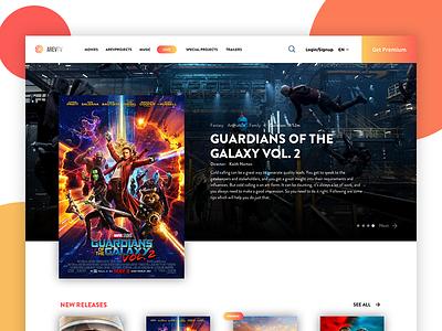 ArevTv Website website ux ui typography tv principle movie layout interface clean cinema