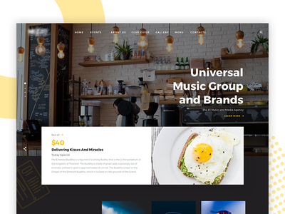 Mezzo Website. design web ux ui food serif photography cafe minimal interface music clean
