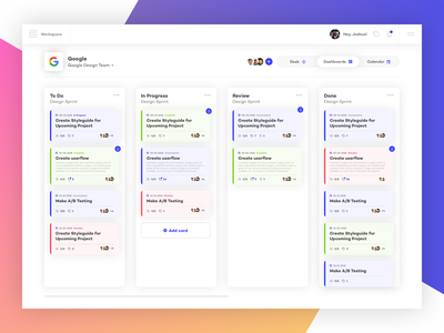 Project Management Board app typography gradient flat layout interface design clean ux ui