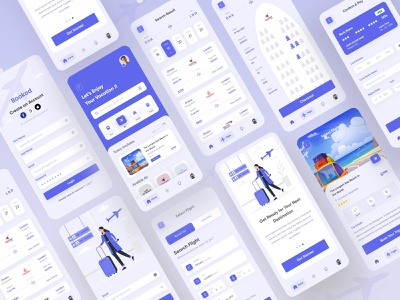 BOOKED - Flight Booking App UI travelapp travel casestudy illustration ui interface design uiux interaction design onlineticket 2021app app flight search onlineapp flight app flight booking