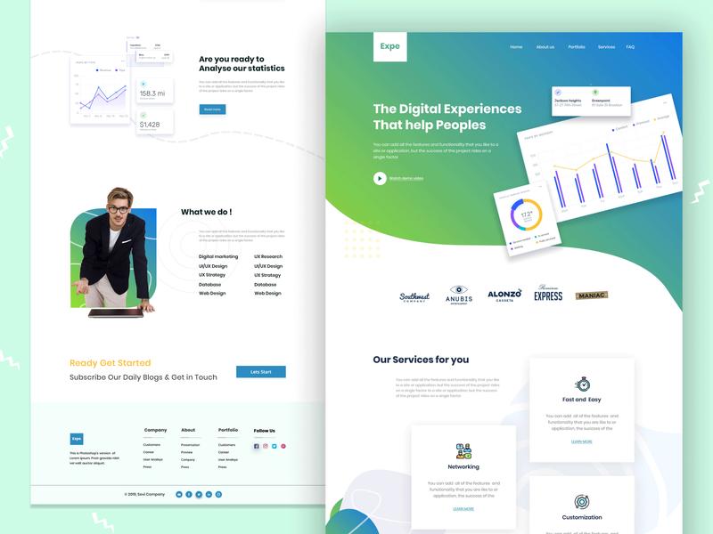 Expe Creative Agency Landingpage Exploration ux ui  ux ui branding brand design portfolio agency products intraction visual design web design website uiux
