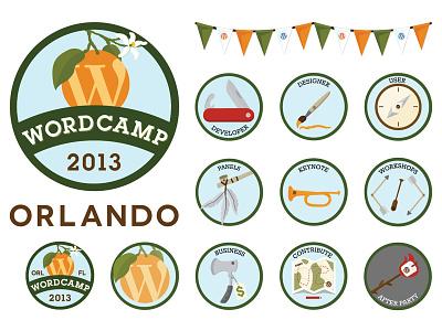 Wordcamp Orlando 2013 Stickers wordcamp wordpress branding vector stickers