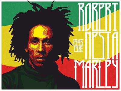 "Robert Nesta ""Bob"" Marley reggae jamaica rasta bob marley music vector illustration lettering custom type"