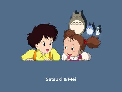 Satsuki&Mei ( Totoro ) design anime mei satsuki totoro sketch illustration designs graphic design graphic illustrator