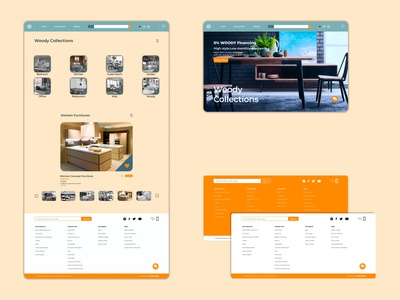 Woody Collections - WDC footer collection figmadesign figma uxdesign uidesign webdesign website web orange branding ux ui logo icon graphic design graphic design illustrator