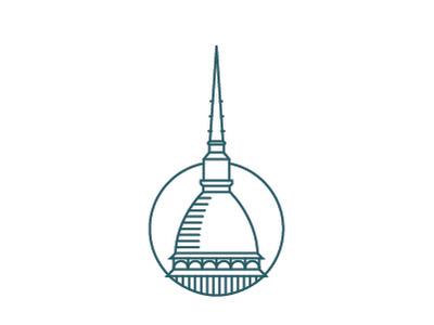 Torino mon amour building icon turin flat icon design logo illustration