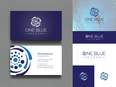 One Blue Ocean Branding logo print logo and print printing design logo and brand identity logo and branding ocean ocean logo hand drawn vintage logo minimalist logo branding logo design logodesign logo