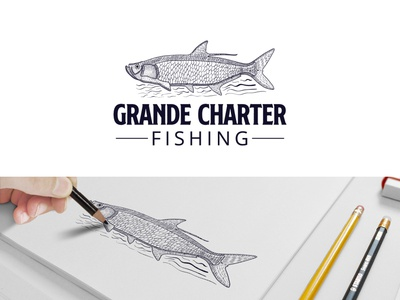 Grand Charter Fishing print design fish vintage illustration vintage logo hand drawn branding vector logo design logodesign logo