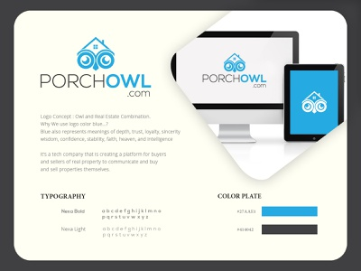 Porch Owl Real Estate typography illustration minimalist logo hand drawn design branding vector logo design logodesign logo