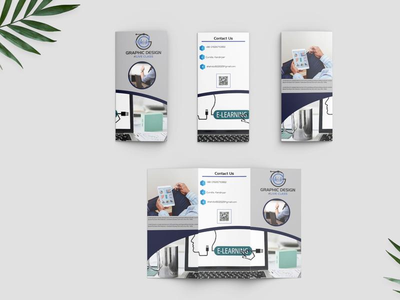 Free Trifold Brochure card graphic design company profile branding business card profile design trifold brochure design illustration flyer design