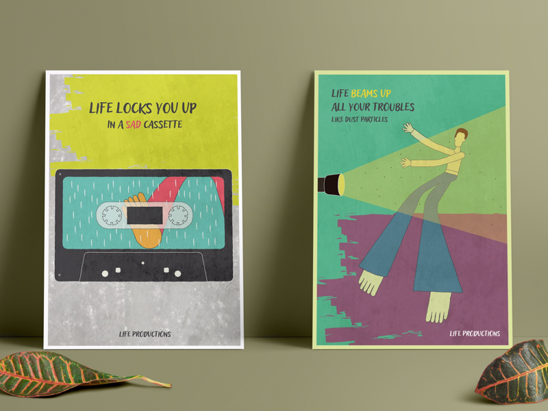 When life hits you. poster series conceptual design graphic design illustration