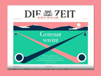 UNITED BUT SEPARATED for DIE ZEIT Alpen drawing editorialillustration adobe illustrator illustrator minimal editorial vector illustration