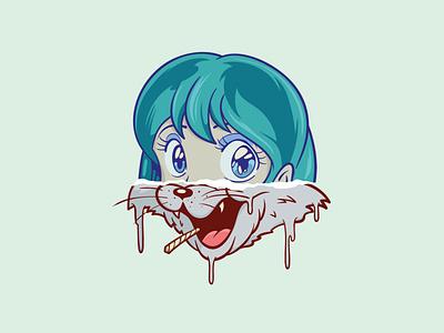 funny day smoke girl collageart collage cat anime logo design drawing digital painting digital illustration digital art art vector illustration