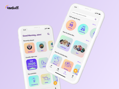 Earfull app musicapp high-fidelity figma app iosapp mobile design app ui design ui