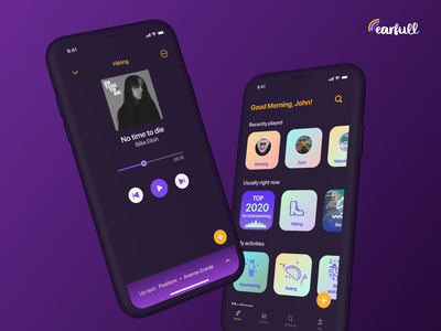Earfull – Dark Mode darkui dark darkmode mobile app design ui app